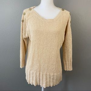 Lucky Brand Ivory Open Knit Sweater Medium